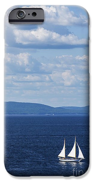 Sailboat Ocean iPhone Cases - Schooner on the bay iPhone Case by Diane Diederich