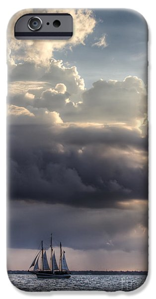 Schooner iPhone Cases - Schooner Pride and Clouds iPhone Case by Dustin K Ryan