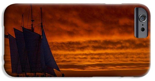 Schooner iPhone Cases - Schooner Sailboat Sunset Charleston South Carolina iPhone Case by Dustin K Ryan
