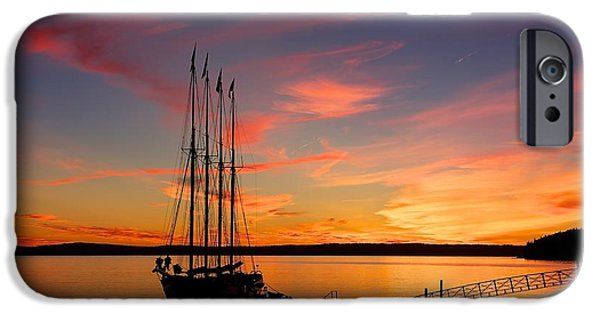 Sailboat Ocean iPhone Cases - Schooner Sunrise iPhone Case by Stuart Litoff