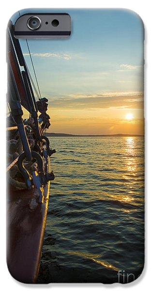 Sailing iPhone Cases - Schooner Sunset iPhone Case by Diane Diederich