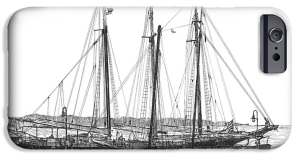 Yorktown Drawings iPhone Cases - Schooners on the York River iPhone Case by Stephany Elsworth