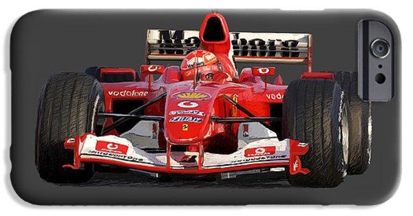 Michael Schumacher iPhone Cases - Schumacher - Ferrari F2004 iPhone Case by Charley Pallos
