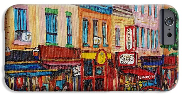Montreal Memories. iPhone Cases - Schwartzs Deli And Warshaw Fruit Store Montreal Landmarks On St Lawrence Street  iPhone Case by Carole Spandau