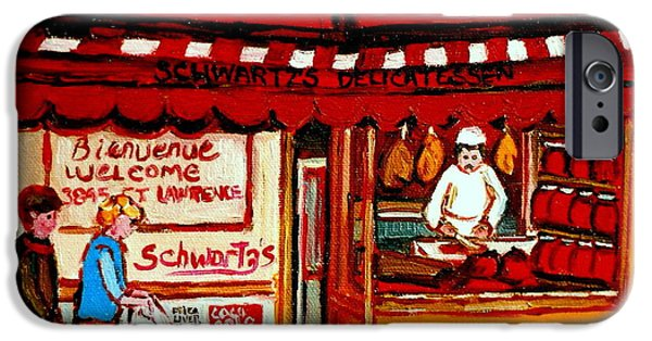 Montreal Memories. iPhone Cases - Schwartzs  Deli  Montreal Landmarks iPhone Case by Carole Spandau