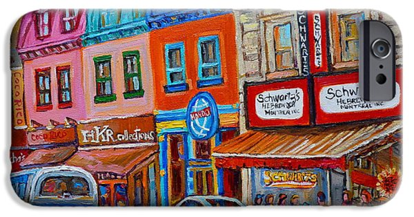 Plateau Montreal Paintings iPhone Cases - Schwartzs Deli Restaurant Montreal Smoked Meat Plateau Mont Royal Streetscene Carole Spandau iPhone Case by Carole Spandau