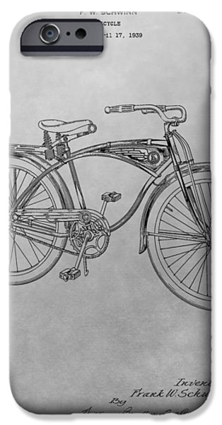 20th Drawings iPhone Cases - Schwinn Bicycle iPhone Case by Dan Sproul