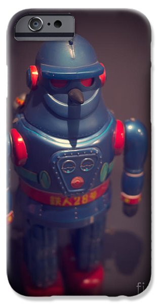 Science Fiction Photographs iPhone Cases - Science Fiction Vintage Robot Toy iPhone Case by Edward Fielding