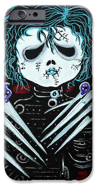 Tim Paintings iPhone Cases - Scissorhands iPhone Case by Laura Barbosa