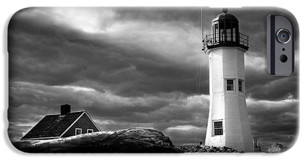 New England Lighthouse iPhone Cases - Scituate lighthouse under a stormy sky iPhone Case by Jeff Folger