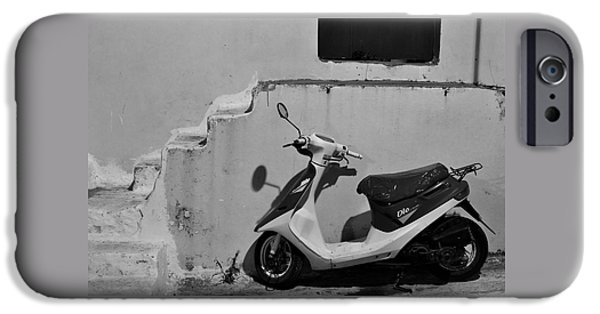 Scoot iPhone Cases - Scooter BW iPhone Case by Ivan Slosar