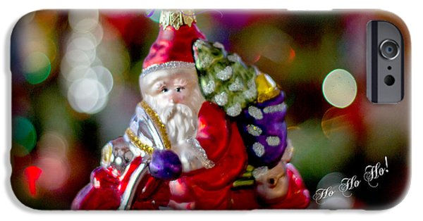 Christmas Greeting iPhone Cases - Scooter Santa Greeting Card iPhone Case by Cathy Jaramillo