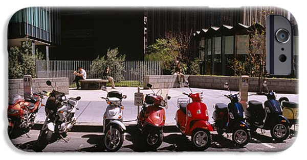 Land Vehicle iPhone Cases - Scooters And Motorcycles Parked iPhone Case by Panoramic Images