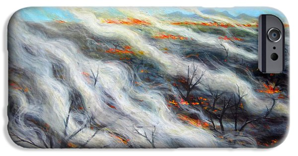 Inferno iPhone Cases - Scorched Earth, 2014, Oil On Canvas iPhone Case by Tilly Willis