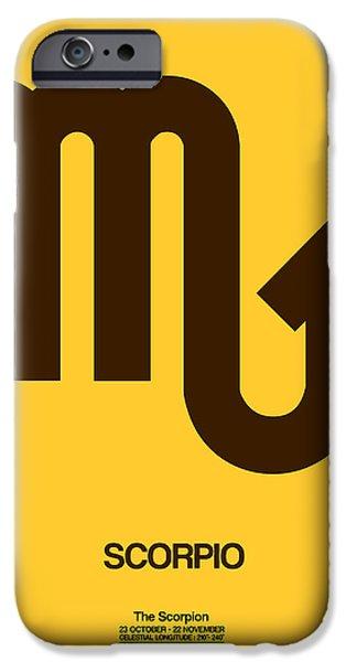 Sign iPhone Cases - Scorpio Zodiac Sign Brown iPhone Case by Naxart Studio
