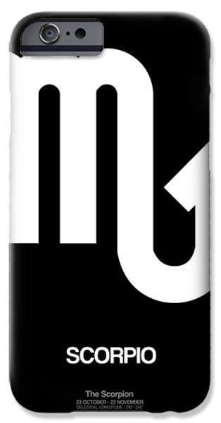 Sign iPhone Cases - Scorpio Zodiac Sign White iPhone Case by Naxart Studio