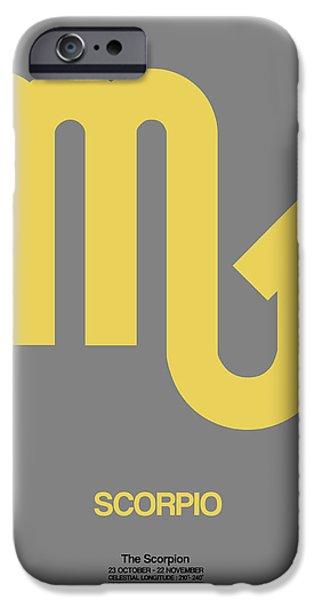 Sign iPhone Cases - Scorpio Zodiac Sign Yellow on Grey iPhone Case by Naxart Studio