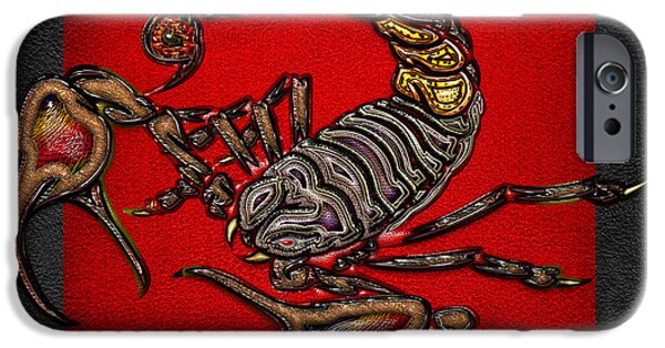 Arachnida iPhone Cases - Scorpion on Red and Black Leather iPhone Case by Serge Averbukh