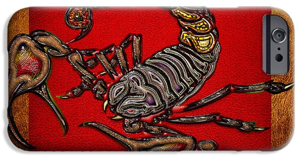 Arachnida iPhone Cases - Scorpion on Red and Brown Leather iPhone Case by Serge Averbukh