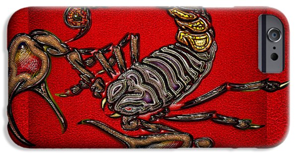 Arachnida iPhone Cases - Scorpion on Red iPhone Case by Serge Averbukh