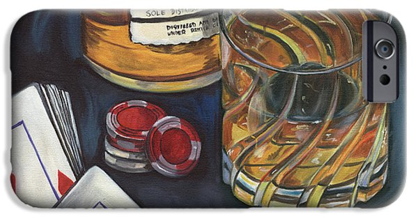 Games Paintings iPhone Cases - Scotch and Cigars 4 iPhone Case by Debbie DeWitt