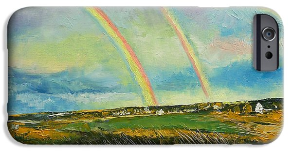 Michael iPhone Cases - Scotland Double Rainbow iPhone Case by Michael Creese