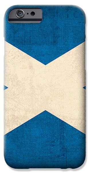 Scotland Flag Vintage Distressed Finish iPhone Case by Design Turnpike