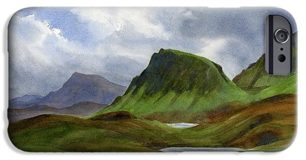 Storm Paintings iPhone Cases - Scotland Highlands Landscape iPhone Case by Sharon Freeman