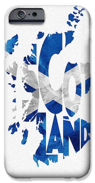 Dirty iPhone Cases - Scotland Typographic Map Flag iPhone Case by Ayse Deniz