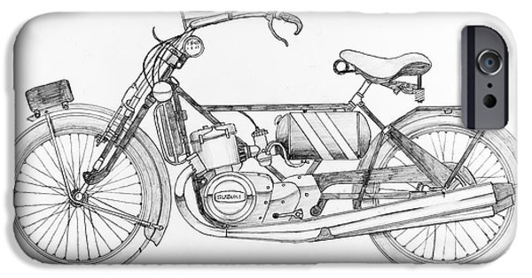 Owner Drawings iPhone Cases - Scott - Suzuki 750 c.c. iPhone Case by Stephen Brooks