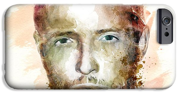 Stone Temple Pilots iPhone Cases - Scott Weiland watercolor iPhone Case by Marian Voicu