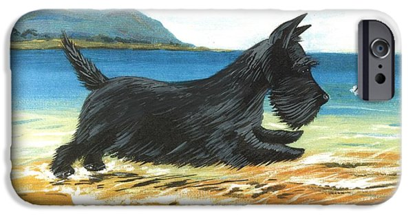 Scottish Terrier Watercolor iPhone Cases - Scottie At Play iPhone Case by Margaryta Yermolayeva