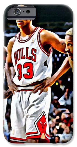 Scottie Pippen with Michael Jordan and Dennis Rodman iPhone Case by Florian Rodarte