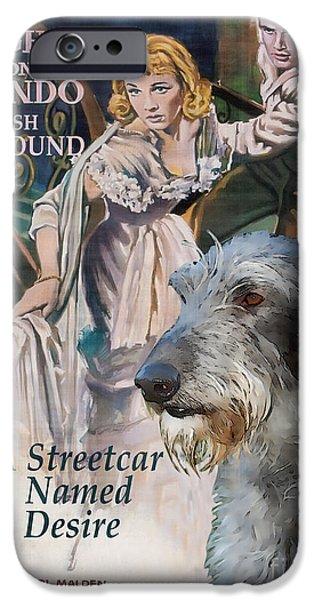 Scottish Dog iPhone Cases - Scottish Deerhound Art - A Streetcar Named Desire Movie Poster iPhone Case by Sandra Sij