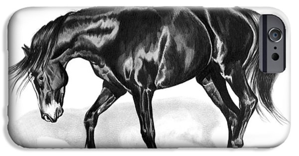 Drawing Of A Horse iPhone Cases - Scottish Gold - Registered Thoroughbred iPhone Case by Cheryl Poland