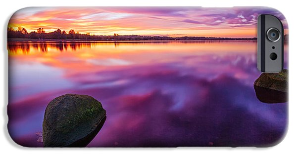 Park Scene iPhone Cases - Scottish Loch at Sunset iPhone Case by John Farnan