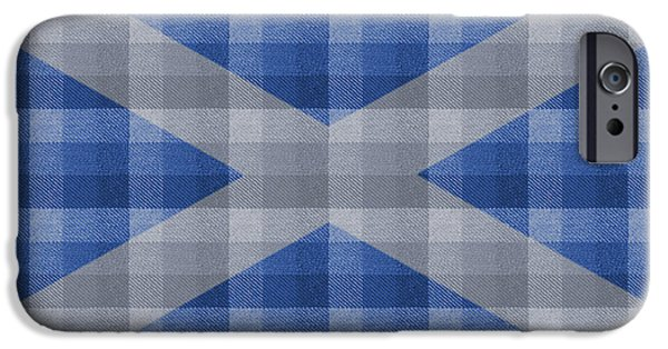 Flag Tapestries - Textiles iPhone Cases - Scottish Saltire Plaid iPhone Case by Paul Reeves