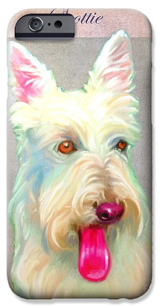Scottish Terrier Puppy iPhone Cases - Scottish Terrier Art iPhone Case by Iain McDonald