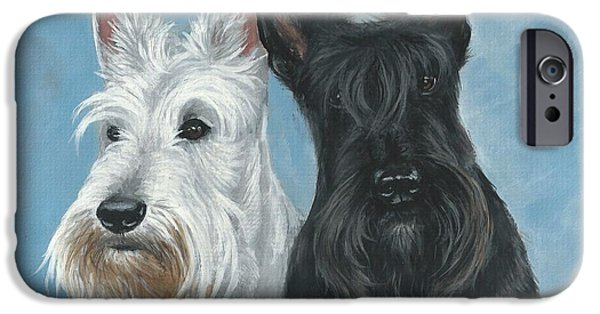 Scottish Terrier Puppy iPhone Cases - Scottish Terrier iPhone Case by Daniele Trottier