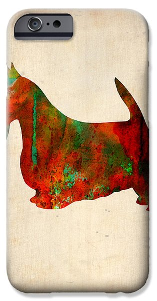 Pets Art iPhone Cases - Scottish Terrier Watercolor 2 iPhone Case by Naxart Studio