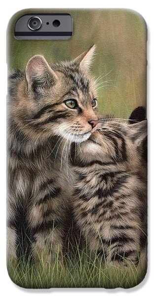 Felines iPhone Cases - Scottish Wildcats Painting - In Support of the Scottish Wildcat Haven Project iPhone Case by Rachel Stribbling