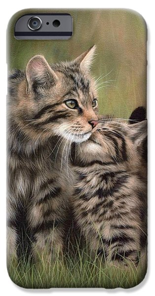 Kitten iPhone Cases - Scottish Wildcats Painting - In Support of the Scottish Wildcat Haven Project iPhone Case by Rachel Stribbling
