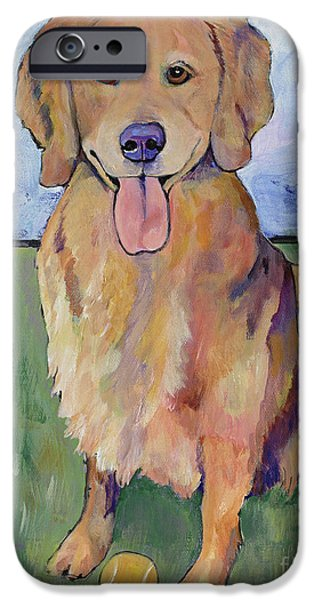 Dog With Tennis Ball iPhone Cases - Scout iPhone Case by Pat Saunders-White