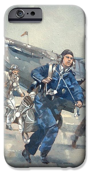 Bravery iPhone Cases - Scramble For The Skies Oil On Canvas iPhone Case by Peter Miller