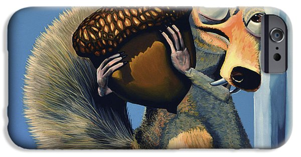 Film Paintings iPhone Cases - Scrat of Ice Age iPhone Case by Paul Meijering