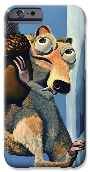 Realistic Art iPhone Cases - Scrat of Ice Age iPhone Case by Paul Meijering