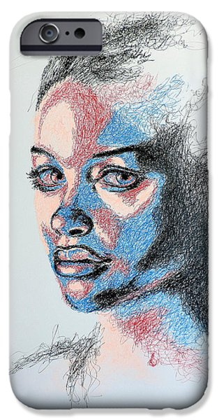 Female Drawings iPhone Cases - Scratched  iPhone Case by Fithi Abraham