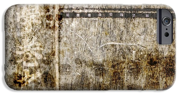 Beige Abstract iPhone Cases - Scratched Metal and Old Books Number 1 iPhone Case by Carol Leigh