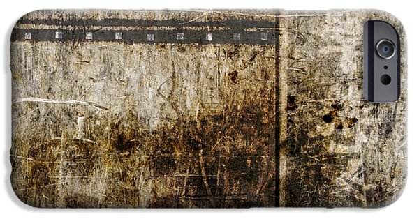 Beige Abstract iPhone Cases - Scratched Metal and Old Books Number 2 iPhone Case by Carol Leigh