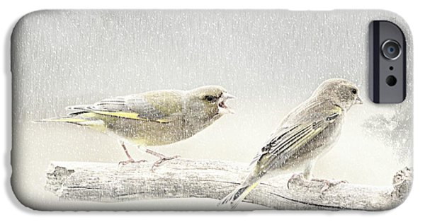 Mural Mixed Media iPhone Cases - Screamers In The Snow iPhone Case by Heike Hultsch